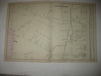 Antique 1873 Long Branch Monmouth County New Jersey Handcolored Map Hotels More
