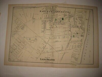 Antique 1873 Long Branch New Jersey Handcolored Map Branch Shore Hotels Superb