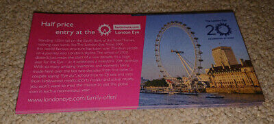 LONDON EYE ~ HALF PRICE ENTRY COUPON / VOUCHER ~ Up to 5 people * 1st CLASS POST