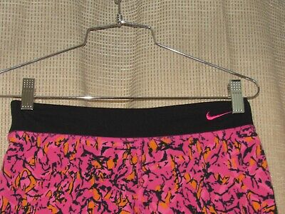 NIKE dri fit girls large cropped athletic leggings pants pink black excellent