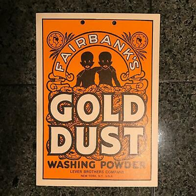 Old Fairbanks Gold Dust Washing Powder Sign Ad NOS Black Americana Twins