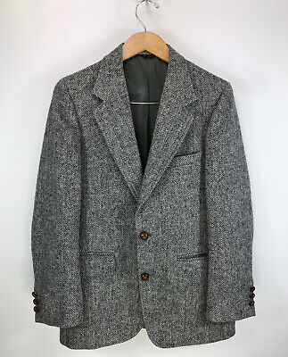 Vtg HARRIS TWEED Wool Blazer 38 jacket HERRINGBONE Sport Coat IVY trad PREPPY