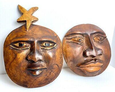 2 Vtg Hand Carved Wooden Faces African Tribal Wall Hanging Masks Tribal Wood Art