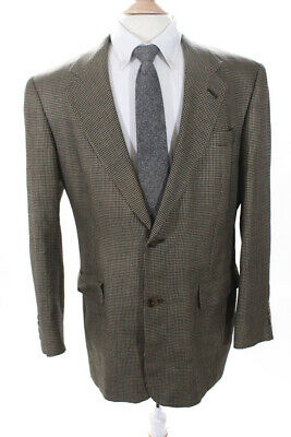 Hart Schaffner Marx Mens Two Button Notched Lapel Blazer Brown Wool Abstract 39