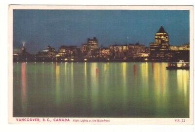 Night Lights At The Waterfront, Vancouver, British Columbia, Vintage Postcard