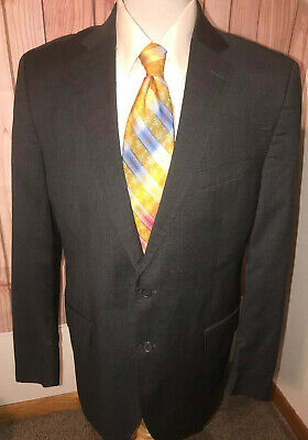 PETER MILLAR Gray Wool Glen Plaid Mens Sz 44 Tall Long Sport Coat Blazer Jacket