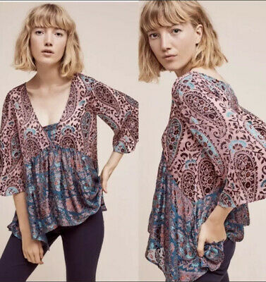 130453 New Floreat Anthropologie Sala Round Neck Printed Peasant Blouse Top S