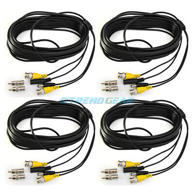 4X 50FT 15M BNC CCTV SURVEILLANCE SECURITY CAMERA VIDEO DC POWER CABLE WIRE CORD