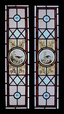 Rare Pair Victorian Painted Birds Antique Stained Glass Sidelights / Windows