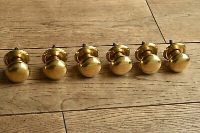 A Set Six Victorian Style Brass Mushroom Knob Pine Dresser Handle Vk