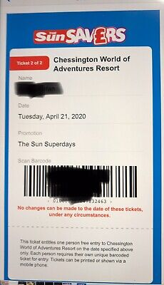 Chessington World Of Adventures - E-Tickets x 2 - Tuesday 21 April 2020