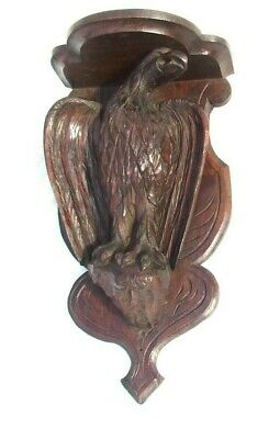 LARGE Antique Black Forest Oak Clock Wall Bracket Shelf : PAIR AVAILABLE 01