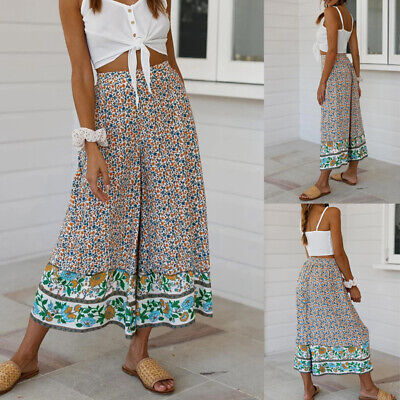 Ladies Floral Print Palazzo Trousers Womens Summer Wide Leg Pants Plus Size  HF