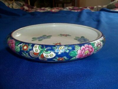 Antique Japanese or Chinese Enameled Flowers Bowl, Large, Flat Circa 1920s