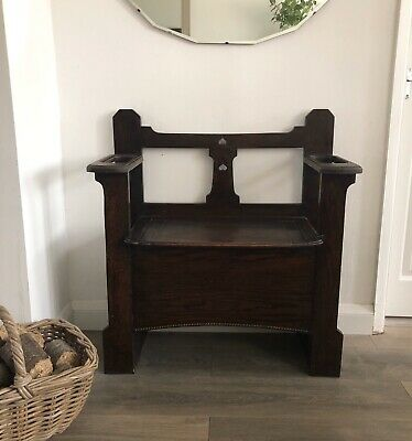 Arts and Crafts Oak Hall Bench/Seat/Chair