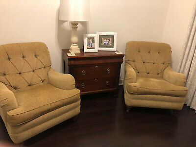 Pair of 2 Ethan Allen Tufted Mercer Side Accent Chairs