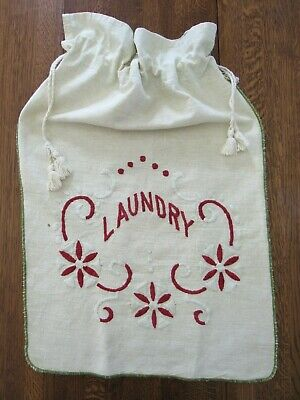 """Antique Embroidered Linen LAUNDRY BAG Vintage 1930s or Earlier 17x27"""""""