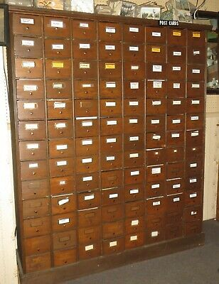 EXTRA LARGE Antique 104 Drawer LIBRARY CARD CATALOG FILE CABINET Library Bureau