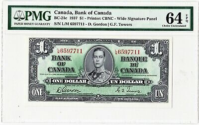 1937 Bank of Canada $1 Banknote, Wide Panel  PMG UNC-64EPQ
