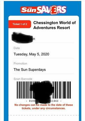 Chessington World Of Adventures - E-Tickets x 2 -Tuesday 5 May 2020