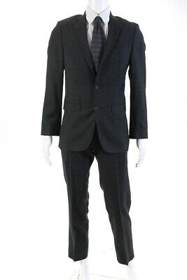 Spurr Mens Two Piece Regular Classic Two Button Suit Gray Wool Size 36