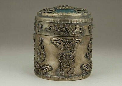 Chinese Old Tibet Silver Handwork Inlay Jade Dragon Phoenix Tobacco Box 0