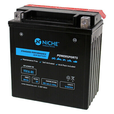 NICHE AGM Battery High Performance 2010-2013 Piaggio-Gilera Fuoco YTX16-BS
