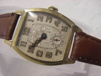 Vintage GOLD FD large antique pre 1920 Art Deco ELGIN BARREL mens watch