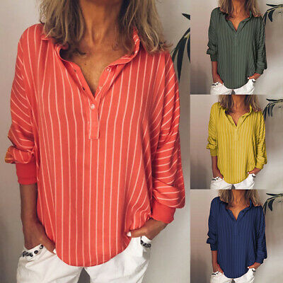 Womens Striped V-Neck Blouses Loose Baggy Long Bat Sleeve Tops Tunic T-Shirts