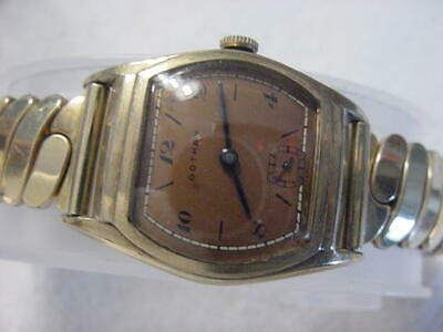 Vintage GOLD FD large antique Art Deco GOTHAM TROPICAL CURVEX mens watch