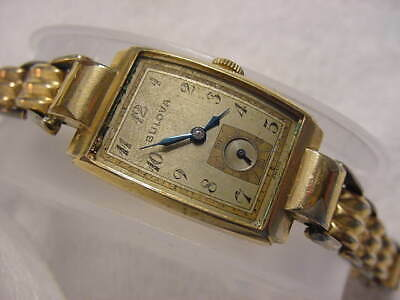 Vintage GOLD FD lg antique Art Deco BULOVA CURVEX mens watch