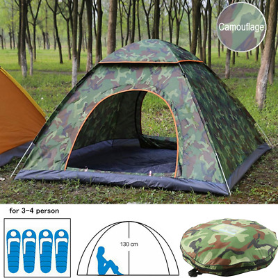 3-4 Person Instant Automatic Pop Up Camouflage Camping Hiking Tent Waterproof UK