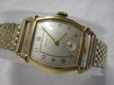 Vintage GOLD FD large antique Art Deco BENRUS CURVEX mens watch