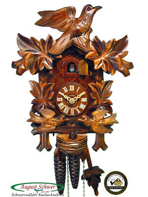 Cuckoo Clock Authentic Black Forest Leaves Feeding Birds Nest August Schwer New