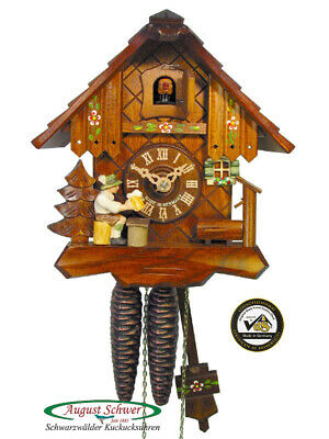Cuckoo Clock Little Black Forest House with Beer Drinker by August Schwer New