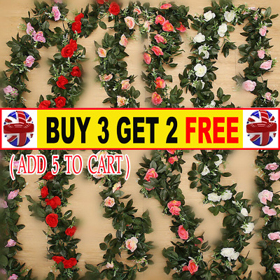 2X 8Ft Artificial Rose Garland Silk Flower String Vine Ivy Wedding Garden DecorH