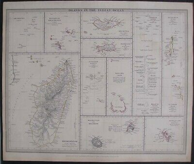 1844 Map Indian Ocean Islands Madagascar Mauritius Maldives Seychelle Chagos Etc