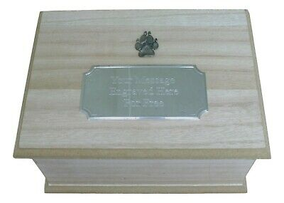 Dog Paw Wooden Pet Ashes Urn or Burial Cast with Engraved Plaque 401