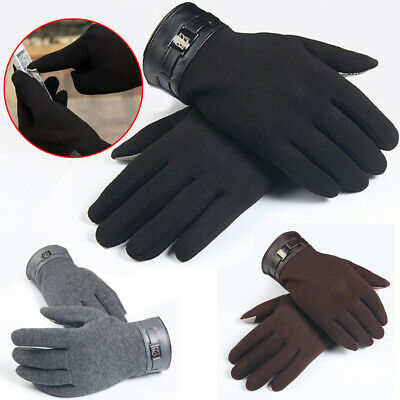 ⭐Winter Mens Full Finger Smartphone Touch Screen Cashmere Gloves Mittens Cashmer