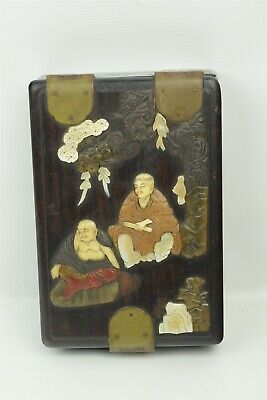 Antique Chinese Wood Box with Hand Carved MOP Shell and Stone Decoration