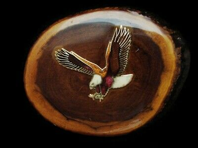 LK29159 FANTASTIC VINTAGE 1970s ***BALD EAGLE*** ON LACQUERED WOOD BLOCK BUCKLE