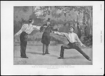 SWORDS FENCING DUEL AFTER THE SPAT BY THOMAS NAST ANIMALS DUEL DOGS DUCK BEAR
