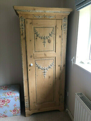 Original antique pine single wardrobe & dressing table with mirror