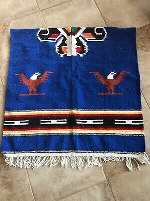 Vintage Cotton Woven Mexican Serape Poncho With Eagle Design
