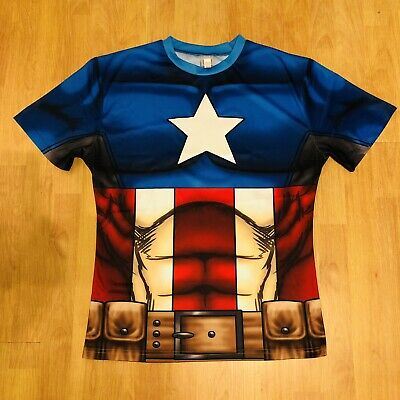 MARVEL MEN'S CAPTAIN AMERICA T-shirt/ Sz M/ Halloween Custom/ Slim Fit/