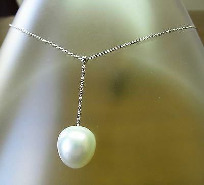13.8mm! WHITE AUST SOUTH SEA PEARL 100% UNTREATED+18 ct WG NECKLACE SLIDER +CERT