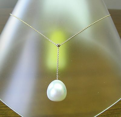 15.9mm! WHITE AUST SOUTH SEA PEARL 100% UNTREATED+18 ct YG NECKLACE SLIDER +CERT