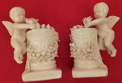 2 Vtg Candlesticks Italy Style Cherubs Putti Angels Garland Roses Candle Holders