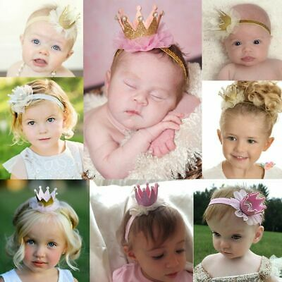 Baby Pearl Kids Girl Crown Headband Lace Headwear Tiara Hair Band