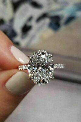 1.91Ct Solitaire Oval Cut Moissanite Luxury Engagement Ring Solid 14k White Gold